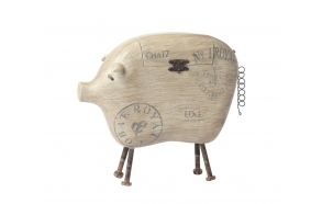 "13""L x 11""H Resin Pig Box w/ Metal Tail & Feet"