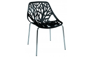 stackable chair Flora, black, metal feet