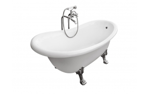 Odelle 170 cm, chromed feet,white, w drain and overflow hole