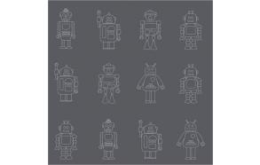 Hoopla Robots Silhouette SidewallGrey