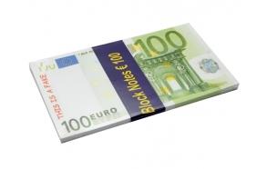 Note pad 100 EUR, 80 sheets, 18.5x10.4cm