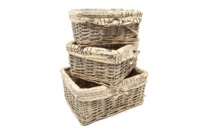 Braided basket Pinqueen, grey, 26x20x12cm