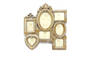 Multi photo frame for 7 photos, antique gold