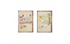 "8-1/4""L Vintage Print Personal Notebook, 2 Styles"