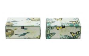 linnumotiiviga klaasist karp, 2 stiilis, 13.5cmL x 8.5cmW x 6cmH