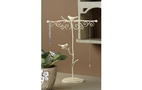 "13""H Metal Jewelry Holder w/ Birds, Cream"