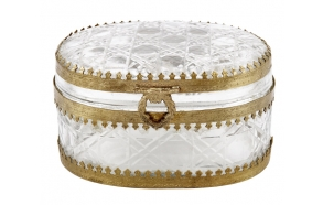 "5""L x 3-1/2""W x 3""H Brass & Glass Oval Box, Imported"