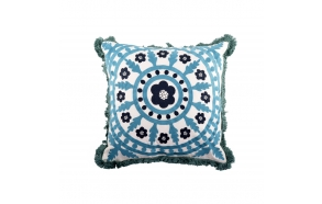 """16""""Square Polyester Mandala Embroidered Pillow"""