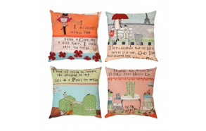 """18"""" Square Cotton & Linen Embroidered Pillow, 4 Styles ©"""