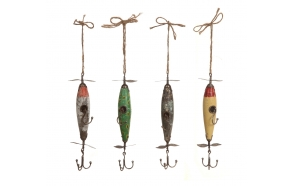 "13-1/2""H Fir & Metal Vintage Reproduction of Fishing Lure Hooks, 4 Styles"