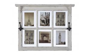 "24""L x 19""H Poplar & Glass Window Pane Photo Holder w/ 2 Hooks, Holds 6 - 5""x7"" Photos, Distressed White"