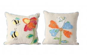 "17-3/4"" Square Cotton & Linen Appliqued & Embroidered Pillow, 2 Styles ©"