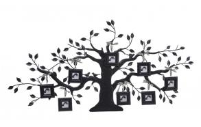"43-1/4""L x 20-1/4""H Metal Family Tree Wall Plaque w/ 8 Square 2"" x 2"" Photo Frames"
