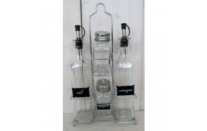 set of glass spice containers