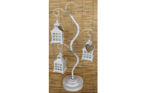 metal tree with lanterns for tea candles