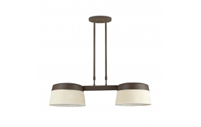 CEILING LAMP 2 SHADES METAL+TEXTILE, 2L E27 60W