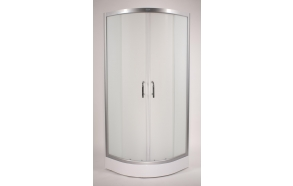 Shower cabin ,round,aluminium frame, 5 mm , mat glass