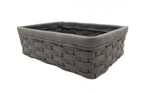 Woven basket Tami, dark grey, 34x24x11cm