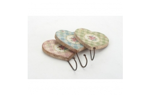 MIX OF 3 GINGHAM HEART HOOKS