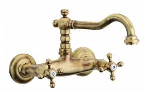BASIN SET WITH SWIVEL SPOUT OLD FASHION,WALL MOUNT, BRONZE