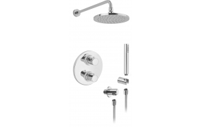 """CONCEALED THERM. SHOWER VALVE  """"COOL """" WITH 2 OUTLETS CERAMIC DIVERTER AND STOP,SHOWER ARM 350 MM Ø 18 M"""