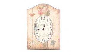 Vintage seinakell puidust raamis, lillemotiiviga