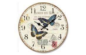 Vintage liblikamotiiviga puidust seinakell