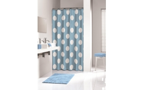 POLKA shower curtain textile, blue, 180x200cm
