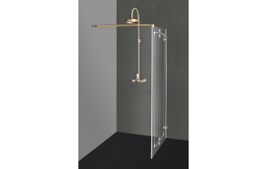 Shower screen DORA with bronzed fittings and pattern, clear glass