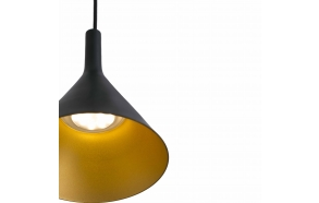 PAM-P LED black and gold pendant lamp ,  SMD LED 11W 3000K 900Lm,aluminium
