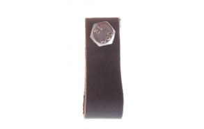 dark brown leather knob, 6 cm