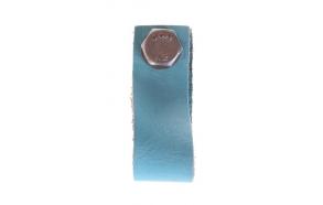nahast sahtlinupp, 6 cm, vintage sinine