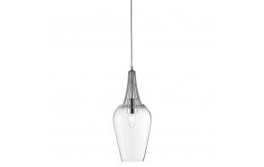 ceiling lamp chrome+glass, E27, 1X60W