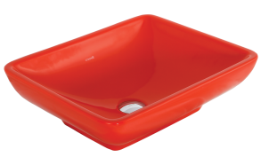 worktop washbasin, red