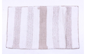 bathmat with stipes, white+beige