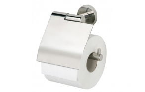 BOSTON toilet-paper roll-holder with lid, polished, no screw assembling