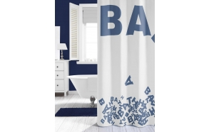 LITTERA shower curtain textile, blue, 180x200cm