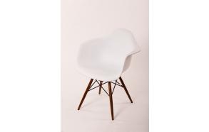 chair Beata, white, light brown feet