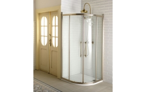 Shower enclosure ANTIQUE 90 cm, bronzed fittings,pattern,clear glass
