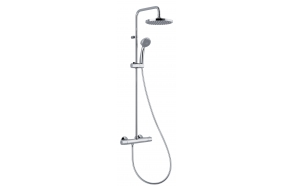 "THERMOSTATIC SHOWER COLUMN ""COOL BASIC"" , 20 cm top shower, thermostatic faucet w metal handle and ceramic diverter, silver pvc hose, hand shower"