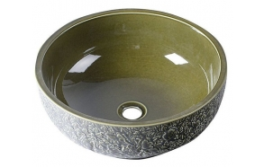PRIORI ceramic basin diameter 43cm, ceramic, olive color