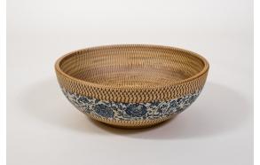 PRIORI ceramic basin diameter 42cm, ceramic, beige color with blue painting