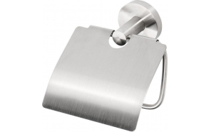 NEO Toilet paper holder with cover, Brushed stainless steel