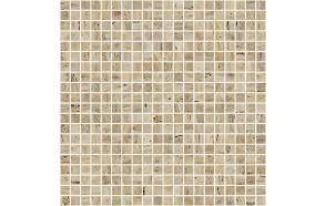 ZEN Travertino Glass mosaic 25x25 mm (plato 31,2x49,5), sold only by cartons (1 carton = 2 m2)