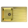 stainless steel basin LINE 20 MONARCH, 86x50 cm, waste 3 1/2´´, gold finish. Drain is included.
