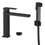 high basin mixer Sky Square with bidet spray and click-clack pop-up waste, mat black