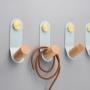 hook 4x13 cm, light blue/shiny brass, painted metal+wood