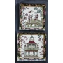 "11-1/2"" & 10-1/4"" Square Cathay Garden Decorative Trays, Set of 2 ©"