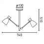 RETRO Beige ceiling lamp, metal,3 x E14 20W