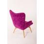 armchair Burg, purple fabric, grey buttons
